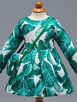 cheap -Girl's Daily School Floral Color Block Dress, Cotton Spring Summer Long Sleeves Cute Casual Green
