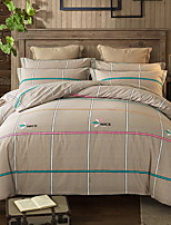 cheap -Duvet Cover Sets Lines / Waves 4 Piece Poly/Cotton Reactive Print Poly/Cotton 1pc Duvet Cover 2pcs Shams 1pc Flat Sheet