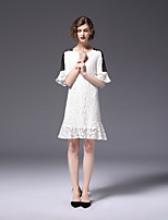 cheap -FRMZ Women's Plus Size Flare Sleeve Slim Trumpet / Mermaid Dress - Solid Colored Lace