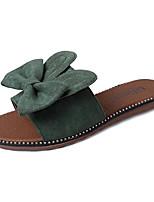 Недорогие -Жен. Обувь Полиуретан Лето Удобная обувь Тапочки и Шлепанцы На плоской подошве Круглый носок Бант для Повседневные Черный Зеленый