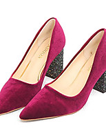 cheap -Women's Shoes PU Spring Comfort Heels Chunky Heel Pointed Toe for Black Burgundy