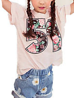 cheap -Girls' Daily Print Jacquard Tee, Polyester Summer Short Sleeves Simple Blushing Pink