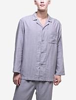 abordables -pyjamas costumes normaux des hommes, solide coton gris moyen bleu marine
