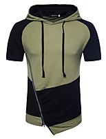 Недорогие -мужской повседневный спорт простой случайный цветной блок с капюшоном с капюшоном, короткий рукав весна лето