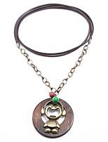 preiswerte -Herrn Anhängerketten - Hölzern Hanfseil Aleación Klassisch Retro Geschenk Kreisform Modische Halsketten Für Maskerade Schultaschen