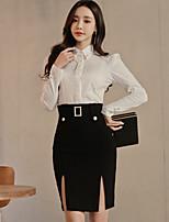 abordables -Femme Moulante Robe - Fendu, Couleur Pleine Taille haute Col de Chemise Mini