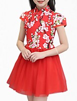 cheap -Girl's Daily Floral Dress, Cotton Polyester Spring Summer Short Sleeves Simple Cute Green Red Blushing Pink