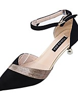 cheap -Women's Shoes PU Spring Summer Comfort Heels Stiletto Heel Pointed Toe Beading for Casual Office & Career Black Beige