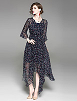 cheap -Women's Basic Street chic Flare Sleeve Slim A Line Sheath Dress - Floral V Neck