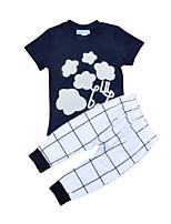 cheap -Unisex Daily Holiday Color Block Check Clothing Set, Cotton Summer Short Sleeves Basic Black