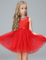 cheap -Girl's Party Going out Solid Colored Dress, Cotton Polyester Summer Sleeveless Cute Active Black Red Beige