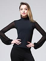 abordables -Danse latine Hauts Femme Entraînement Chinlon Georgette Combinaison Manches Longues Taille moyenne Haut