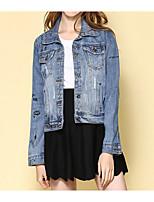 cheap -Women's Cute Denim Jacket-Solid Colored Shirt Collar