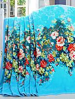 cheap -Coral fleece, Reactive Print Floral Cotton / Polyester Polyester Blankets