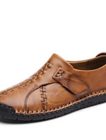 cheap -Men's Shoes Leather Summer Driving Shoes Comfort Loafers & Slip-Ons for Casual Outdoor Black Light Brown Dark Brown