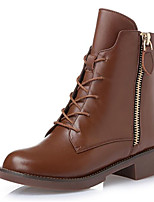 cheap -Women's Shoes Cowhide Fall Winter Fashion Boots Boots Chunky Heel Booties/Ankle Boots for Casual Black Brown