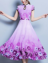 abordables -Femme Grandes Tailles Mousseline de Soie Balançoire Robe - Imprimé, Fleur Mao Midi