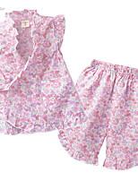 abordables -Fille Quotidien Fleur Ensemble de Vêtements, Coton Eté Sans Manches Mignon Rose Claire
