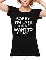 Недорогие -женская винтажная футболка из полиэстера - круглая буква с буквой