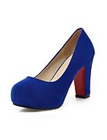 abordables -Mujer Zapatos Cuero Nobuck Primavera Otoño Pump Básico Tacones Tacón Cuadrado Dedo redondo para Oficina y carrera Fiesta y Noche Negro