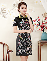 cheap -Women's Sophisticated Chinoiserie Slim Sheath Dress - Floral, Embroidered Stand