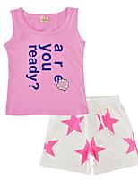 Недорогие -Девочки Набор одежды Повседневные Спорт Хлопок С принтом Лето Без рукавов Очаровательный Розовый