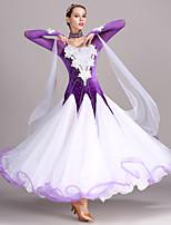 cheap -Ballroom Dance Dresses Women's Training Performance Tulle Velvet Appliques Crystals/Rhinestones Long Sleeves High Dress Neckwear