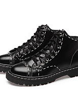 cheap -Women's Shoes Cowhide Spring Fall Combat Boots Boots Chunky Heel Round Toe Booties/Ankle Boots for Casual Black
