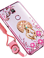 cheap -Case For Huawei Honor 7X Shockproof Rhinestone with Stand Back Cover Flower Soft TPU for Huawei Honor 5X