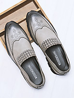 cheap -Men's Shoes Pigskin Summer Comfort Loafers & Slip-Ons for Casual Black Gray