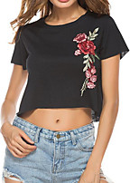 cheap -Women's Going out Cute Basic Cotton T-shirt - Floral