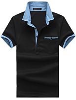 cheap -Men's Simple Cotton Slim Polo - Color Block Shirt Collar