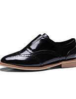 abordables -Femme Chaussures Cuir Printemps Eté Confort Oxfords Talon Bas Bout rond pour Soirée & Evénement Blanc Noir