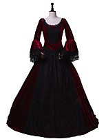 cheap -Victorian Rococo Costume Women's Adults' Masquerade Party Costume Outfits Red/black Vintage Cosplay Flannel Fabric 3/4 Length Sleeves