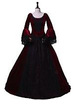 economico -Vittoriano Rococò Costume Per donna Per adulto Stile Carnevale di Venezia Vestito da Serata Elegante Completi Rosso/nero Vintage Cosplay