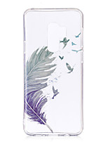 cheap -Case For Samsung Galaxy S9 / S9 Plus / S8 Plus IMD / Pattern / Transparent Body Back Cover Feathers Soft TPU