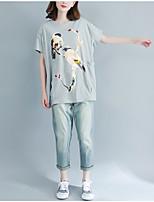 abordables -Tee-shirt Grandes Tailles Femme, Couleur Pleine - Coton Glands Manche Chauve-souris énorme