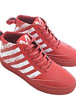 baratos -Homens sapatos Couro Ecológico Inverno Outono Conforto Tênis para Casual Preto Vermelho