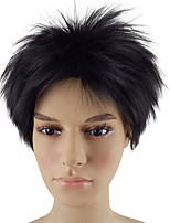 cheap -Synthetic Wig Straight Layered Haircut Natural Hairline Black Red Men's Capless Natural Wigs Short Synthetic Hair