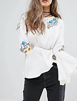 cheap -Women's Basic Blouse - Solid Colored, Embroidered