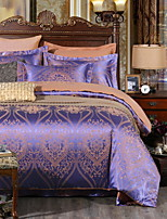 cheap -Duvet Cover Sets Floral 4 Piece Poly/Cotton Polyster Jacquard Poly/Cotton Polyster 1pc Duvet Cover 2pcs Shams 1pc Flat Sheet