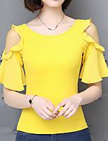 preiswerte -Damen Solide - Street Schick Festtage T-shirt Schlank