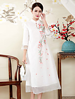cheap -Women's Sophisticated Chinoiserie Loose Dress - Floral, Embroidered Stand