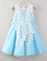 cheap -Girl's Party Daily Patchwork Dress, Polyester Summer Sleeveless Casual Boho Light Blue