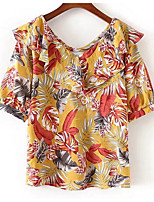 cheap -Women's Basic Batwing Sleeve T-shirt - Floral, Print V Neck