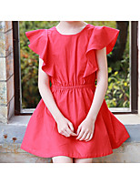 cheap -Girl's Solid Dress, Cotton Summer Short Sleeves Simple Active Red