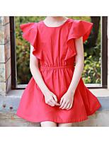 Недорогие -Девичий Платье Хлопок Однотонный Лето С короткими рукавами Простой Активный Красный