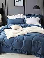 cheap -Duvet Cover Sets Solid 4 Piece Poly/Cotton 100% Cotton Yarn Dyed Poly/Cotton 100% Cotton 1pc Duvet Cover 2pcs Shams 1pc Flat Sheet