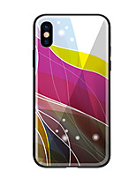 cheap -Case For Apple iPhone X iPhone 8 Pattern Back Cover Lines / Waves Hard Tempered Glass for iPhone X iPhone 8 Plus iPhone 8 iPhone 7 iPhone
