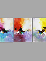 cheap -Oil Painting Hand Painted - Abstract Floral / Botanical Comtemporary Modern Canvas Three Panels